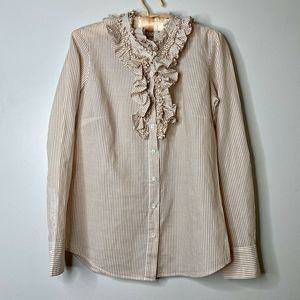 J.Crew Size 0 Ruffled Button Down Long Sleeve